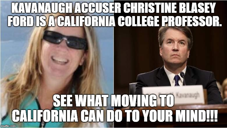 Kavanaugh Accuser Christine Blasey Ford Is A California College Professor. | KAVANAUGH ACCUSER CHRISTINE BLASEY FORD IS A CALIFORNIA COLLEGE PROFESSOR. SEE WHAT MOVING TO CALIFORNIA CAN DO TO YOUR MIND!!! | image tagged in christine,blasey,ford,nut,crazy,golddigger | made w/ Imgflip meme maker
