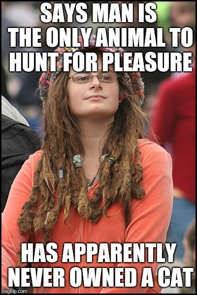 Or a dog, or even types of fish for that matter | SAYS MAN IS THE ONLY ANIMAL TO HUNT FOR PLEASURE HAS APPARENTLY NEVER OWNED A CAT | image tagged in memes,college liberal | made w/ Imgflip meme maker