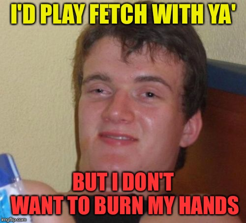 10 Guy Meme | I'D PLAY FETCH WITH YA' BUT I DON'T WANT TO BURN MY HANDS | image tagged in memes,10 guy | made w/ Imgflip meme maker