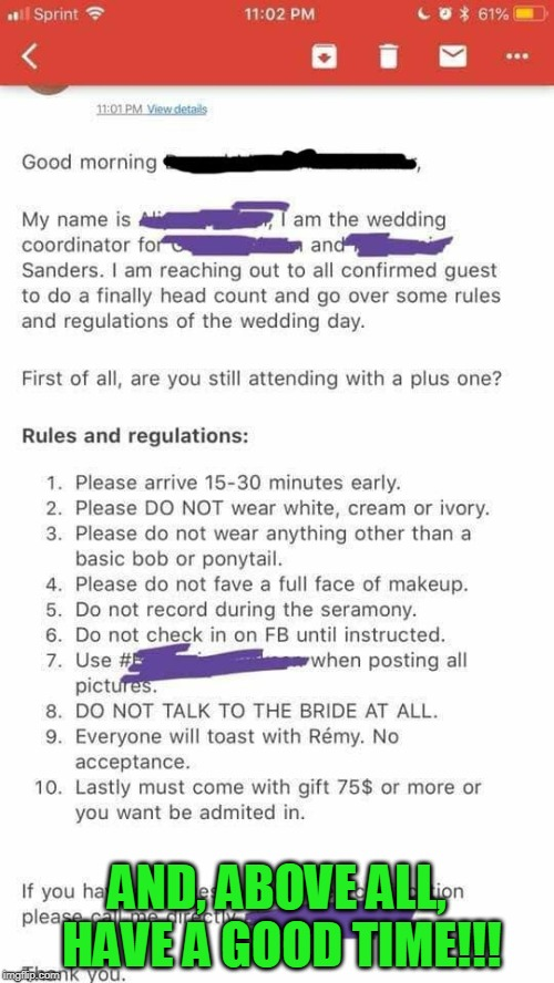 Bridezilla Rules and Regulations | AND, ABOVE ALL, HAVE A GOOD TIME!!! | image tagged in wedding,bridezilla,rules,regulations | made w/ Imgflip meme maker