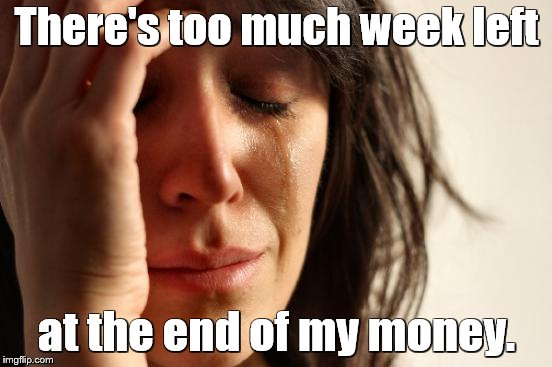 First World Problems Meme | There's too much week left at the end of my money. | image tagged in memes,first world problems,paycheck,money,payday | made w/ Imgflip meme maker