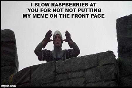 French Taunting in Monty Python's Holy Grail | I BLOW RASPBERRIES AT YOU FOR NOT NOT PUTTING MY MEME ON THE FRONT PAGE | image tagged in french taunting in monty python's holy grail | made w/ Imgflip meme maker