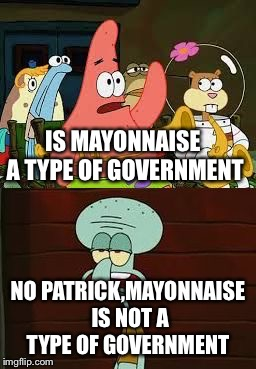 Is Mayonnaise An Instrument?  | IS MAYONNAISE A TYPE OF GOVERNMENT NO PATRICK,MAYONNAISE IS NOT A TYPE OF GOVERNMENT | image tagged in is mayonnaise an instrument,government,usa,president | made w/ Imgflip meme maker