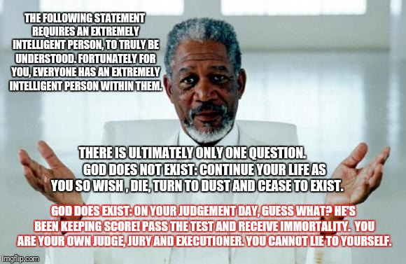 The choice is yours | THE FOLLOWING STATEMENT REQUIRES AN EXTREMELY INTELLIGENT PERSON, TO TRULY BE UNDERSTOOD. FORTUNATELY FOR YOU, EVERYONE HAS AN EXTREMELY INT | image tagged in god morgan freeman | made w/ Imgflip meme maker