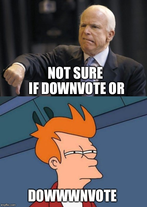NOT SURE IF DOWNVOTE OR DOWWWNVOTE | made w/ Imgflip meme maker