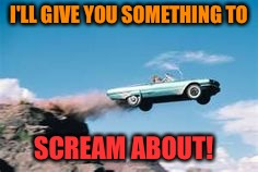 DrivingOffACliff | I'LL GIVE YOU SOMETHING TO SCREAM ABOUT! | image tagged in drivingoffacliff | made w/ Imgflip meme maker