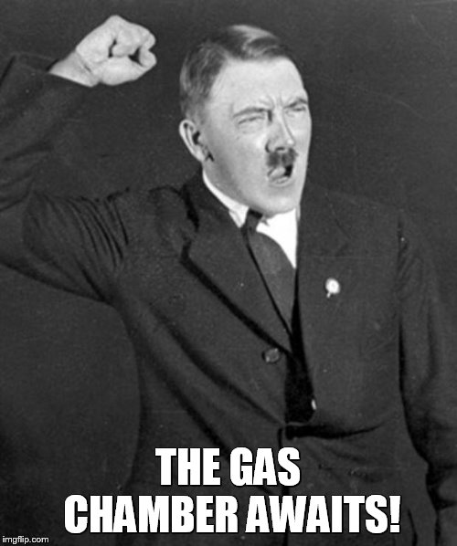 Angry Hitler | THE GAS CHAMBER AWAITS! | image tagged in angry hitler,nazi,fascism,fascist,dictator,fascists | made w/ Imgflip meme maker