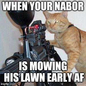 cat with gun | WHEN YOUR NABOR IS MOWING HIS LAWN EARLY AF | image tagged in cat with gun | made w/ Imgflip meme maker