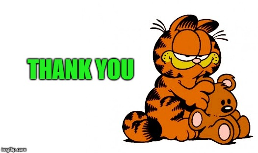 garfield | THANK YOU | image tagged in garfield | made w/ Imgflip meme maker