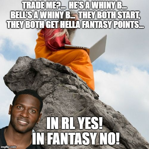 Brown and Bell,,, | TRADE ME?...  HE'S A WHINY B... BELL'S A WHINY B...  THEY BOTH START, THEY BOTH GET HELLA FANTASY POINTS... IN RL YES! IN FANTASY NO! | image tagged in antonio brown,nfl memes,fantasy football,funny,le'veon bell | made w/ Imgflip meme maker