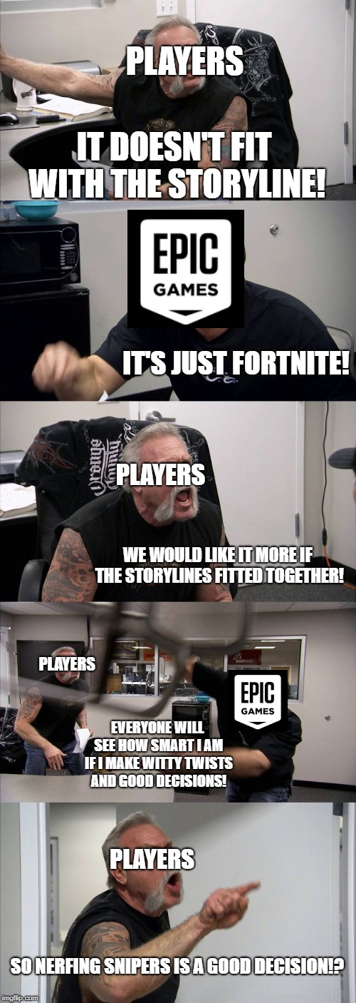 American Chopper Argument | IT DOESN'T FIT WITH THE STORYLINE! IT'S JUST FORTNITE! WE WOULD LIKE IT MORE IF THE STORYLINES FITTED TOGETHER! EVERYONE WILL SEE HOW SMART  | image tagged in memes,american chopper argument | made w/ Imgflip meme maker