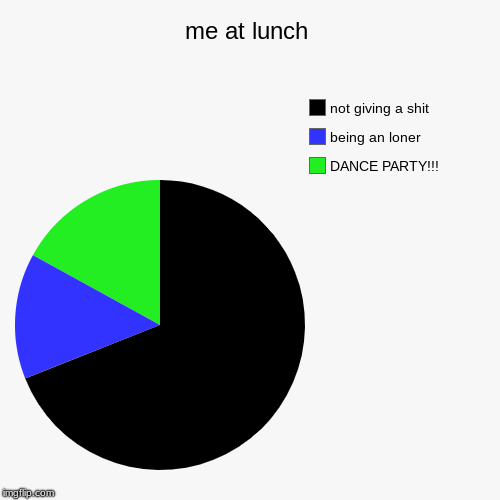 me at lunch | DANCE PARTY!!!, being an loner, not giving a shit | image tagged in funny,pie charts | made w/ Imgflip chart maker