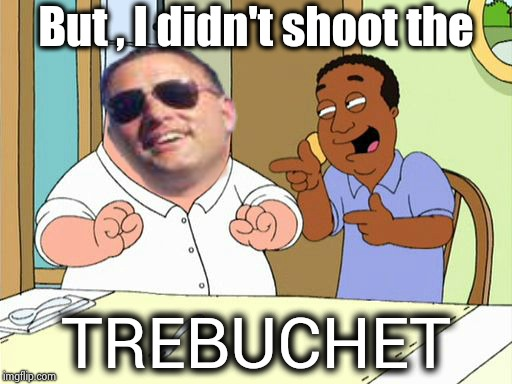 deputy expression | But , I didn't shoot the TREBUCHET | image tagged in deputy expression | made w/ Imgflip meme maker