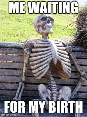Waiting Skeleton Meme | ME WAITING FOR MY BIRTH | image tagged in memes,waiting skeleton | made w/ Imgflip meme maker