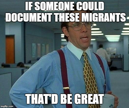 That Would Be Great Meme | IF SOMEONE COULD DOCUMENT THESE MIGRANTS THAT'D BE GREAT | image tagged in memes,that would be great | made w/ Imgflip meme maker