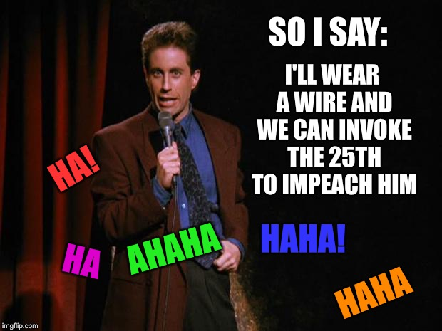 It was a joke... | SO I SAY: I'LL WEAR A WIRE AND WE CAN INVOKE THE 25TH TO IMPEACH HIM HA! HAHA HA AHAHA HAHA! | image tagged in seinfeld,rod rosenstein,rosenstein,politics | made w/ Imgflip meme maker