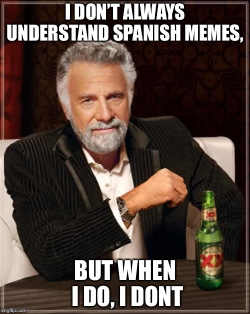 I DON'T ALWAYS UNDERSTAND SPANISH MEMES, BUT WHEN I DO, I DON'T | image tagged in memes,the most interesting man in the world | made w/ Imgflip meme maker