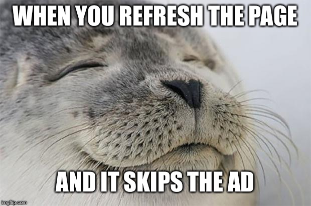 Satisfied Seal! |  WHEN YOU REFRESH THE PAGE; AND IT SKIPS THE AD | image tagged in memes,satisfied seal,youtube,ads,adblock | made w/ Imgflip meme maker