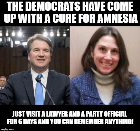 Debbie Ramirez  | THE DEMOCRATS HAVE COME UP WITH A CURE FOR AMNESIA JUST VISIT A LAWYER AND A PARTY OFFICIAL FOR 6 DAYS AND YOU CAN REMEMBER ANYTHING! | image tagged in debbie ramirez,brett kavanaugh,kavanaugh,ramirez | made w/ Imgflip meme maker
