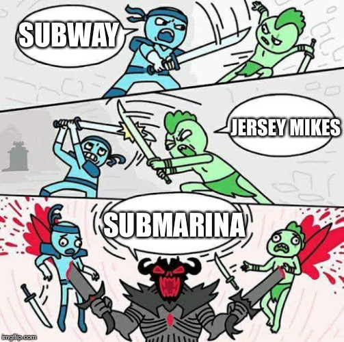 Sword fight | SUBWAY SUBMARINA JERSEY MIKES | image tagged in sword fight | made w/ Imgflip meme maker