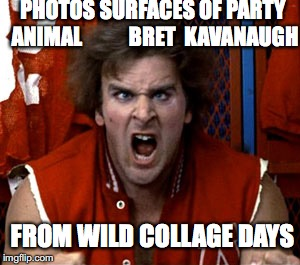 Party Animal Bret |  PHOTOS SURFACES OF PARTY ANIMAL           BRET  KAVANAUGH; FROM WILD COLLAGE DAYS | image tagged in revenge of the nerds ogre,brett kavanaugh,party animal,photo surfaces | made w/ Imgflip meme maker