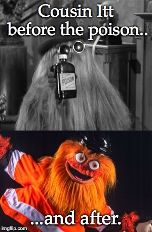 Cousin Itt on drugs. | Cousin Itt before the poison.. ...and after. | image tagged in mascots | made w/ Imgflip meme maker