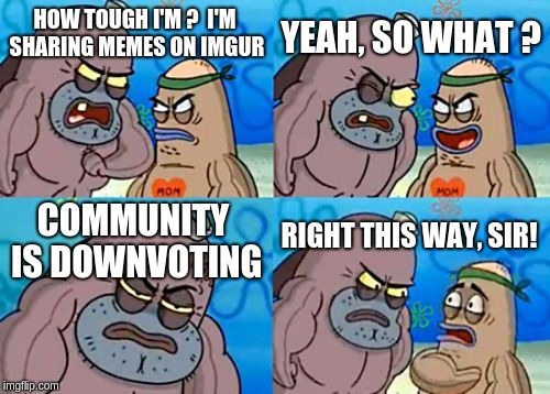 How Tough Are You | HOW TOUGH I'M ?  I'M SHARING MEMES ON IMGUR YEAH, SO WHAT ? COMMUNITY IS DOWNVOTING RIGHT THIS WAY, SIR! | image tagged in memes,how tough are you | made w/ Imgflip meme maker