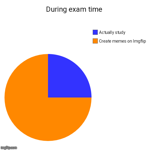 Exams.... | During exam time | Create memes on Imgflip, Actually study | image tagged in funny,pie charts,exams,study | made w/ Imgflip pie chart maker