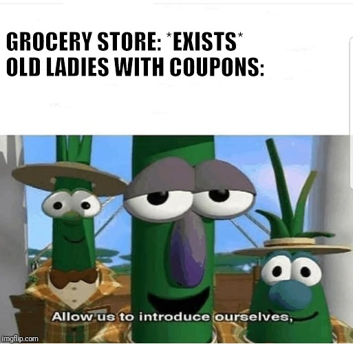 Allow us to introduce ourselves | GROCERY STORE: *EXISTS*                 OLD LADIES WITH COUPONS: | image tagged in allow us to introduce ourselves,old ladies,coupons,grocerystore | made w/ Imgflip meme maker