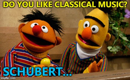 He has a long Liszt of favourites... :) | DO YOU LIKE CLASSICAL MUSIC? SCHUBERT... | image tagged in bert and ernie,memes,schubert,classical music,music,sesame street | made w/ Imgflip meme maker