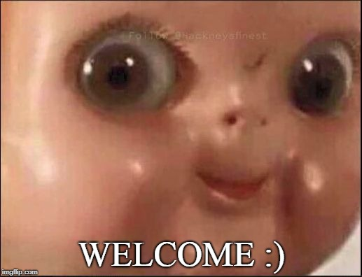 WELCOME :) | image tagged in hehe | made w/ Imgflip meme maker