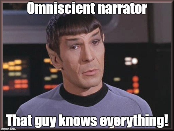 Omniscient Narrator | Omniscient narrator That guy knows everything! | image tagged in quizzical spock,spelling,english,spock,meme | made w/ Imgflip meme maker