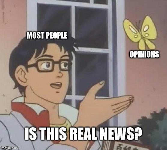 Is This A Pigeon Meme | MOST PEOPLE OPINIONS IS THIS REAL NEWS? | image tagged in memes,is this a pigeon | made w/ Imgflip meme maker