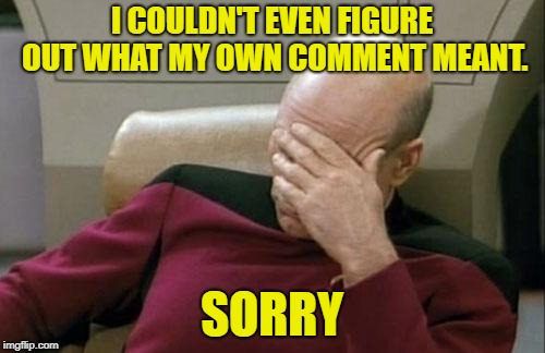 Captain Picard Facepalm Meme | I COULDN'T EVEN FIGURE OUT WHAT MY OWN COMMENT MEANT. SORRY | image tagged in memes,captain picard facepalm | made w/ Imgflip meme maker