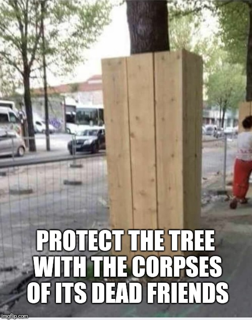 Hmm | PROTECT THE TREE WITH THE CORPSES OF ITS DEAD FRIENDS | image tagged in logic,memes,trees,ilikepie314159265358979 | made w/ Imgflip meme maker