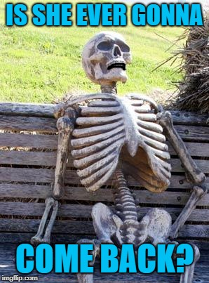 Waiting Skeleton Meme | IS SHE EVER GONNA COME BACK? | image tagged in memes,waiting skeleton | made w/ Imgflip meme maker