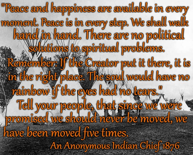 "Saying from Anonymous Indian Chief 1876 |  ""Peace and happiness are available in every; moment. Peace is in every step. We shall walk; hand in hand. There are no political; solutions to spiritual problems. Remember: If the Creator put it there, it is; in the right place. The soul would have no; rainbow if the eyes had no tears.""; Tell your people, that since we were; promised we should never be moved, we; have been moved five times. An Anonymous Indian Chief 1876 