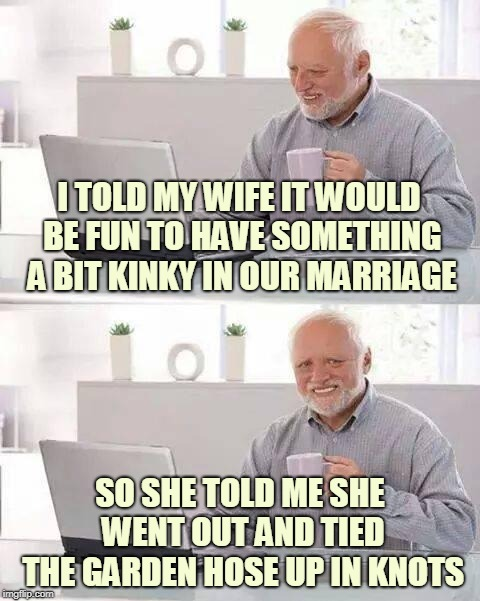 What A Tangled Web We Weave! Dirty Meme Week, Sep. 24 - Sep. 30, a socrates event. | I TOLD MY WIFE IT WOULD BE FUN TO HAVE SOMETHING A BIT KINKY IN OUR MARRIAGE SO SHE TOLD ME SHE WENT OUT AND TIED THE GARDEN HOSE UP IN KNOT | image tagged in memes,hide the pain harold,dirty meme,kinky,dirty meme week,bros before hose | made w/ Imgflip meme maker