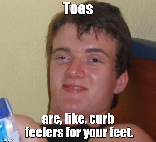10 Guy | Toes are, like, curb feelers for your feet. | image tagged in memes,10 guy,feet,toes | made w/ Imgflip meme maker