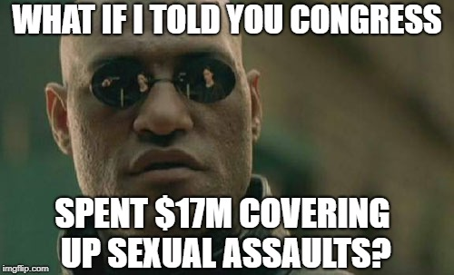 Congress Paid $17M of Taxpayer Funds to Their Own Victims of Sexual Abuse and Discrimination |  WHAT IF I TOLD YOU CONGRESS; SPENT $17M COVERING UP SEXUAL ASSAULTS? | image tagged in 17m,congress,sexual harassment,sexual assault,discrimination,taxpayer | made w/ Imgflip meme maker