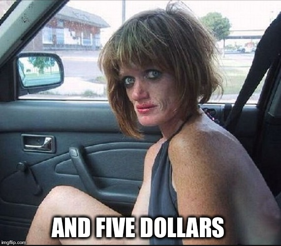 crack whore hooker | AND FIVE DOLLARS | image tagged in crack whore hooker | made w/ Imgflip meme maker