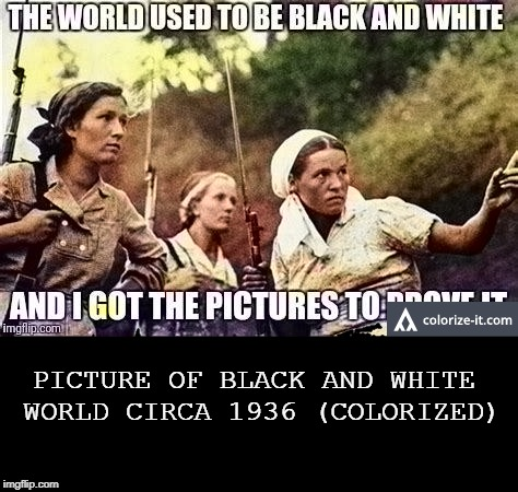 PICTURE OF BLACK AND WHITE WORLD CIRCA 1936 (COLORIZED) | made w/ Imgflip meme maker