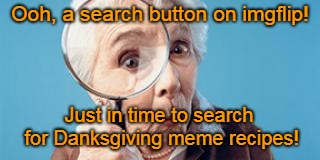 This is pretty cool, actually. | Ooh, a search button on imgflip! Just in time to search for Danksgiving meme recipes! | image tagged in old lady magnifying glass,memes,imgflip,search,thanks mods,by popular request | made w/ Imgflip meme maker