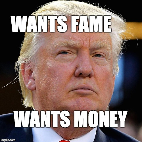 Wants fame, wants money. | WANTS FAME WANTS MONEY | image tagged in trump,donald trump,fraud | made w/ Imgflip meme maker