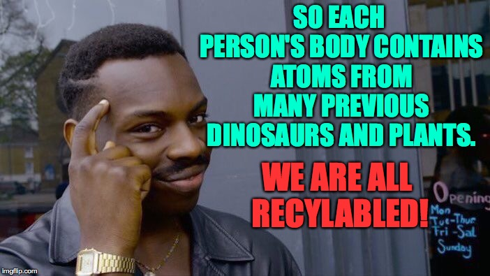 Roll Safe Think About It Meme | SO EACH PERSON'S BODY CONTAINS ATOMS FROM MANY PREVIOUS DINOSAURS AND PLANTS. WE ARE ALL RECYLABLED! | image tagged in memes,roll safe think about it | made w/ Imgflip meme maker