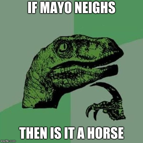 raptor | IF MAYO NEIGHS THEN IS IT A HORSE | image tagged in raptor | made w/ Imgflip meme maker