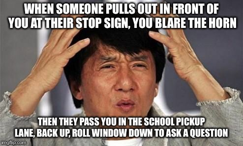 Yeah this happened today, it's why I don't have a gun just a taser.  | WHEN SOMEONE PULLS OUT IN FRONT OF YOU AT THEIR STOP SIGN, YOU BLARE THE HORN THEN THEY PASS YOU IN THE SCHOOL PICKUP LANE, BACK UP, ROLL WI | image tagged in jackie chan wtf,idiot drivers,i just ignored them,road rage,go to driving school | made w/ Imgflip meme maker