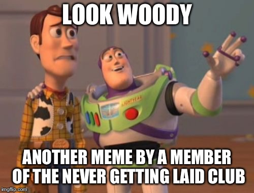 X, X Everywhere | LOOK WOODY ANOTHER MEME BY A MEMBER OF THE NEVER GETTING LAID CLUB | image tagged in x x everywhere | made w/ Imgflip meme maker