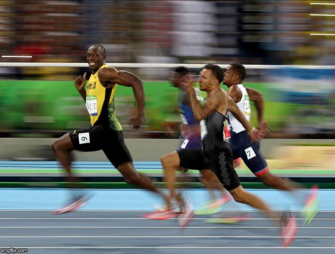 Usain Bolt running | image tagged in usain bolt running | made w/ Imgflip meme maker