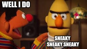 Bert and Ernie  | WELL I DO SNEAKY SNEAKY SNEAKY | image tagged in bert and ernie | made w/ Imgflip meme maker